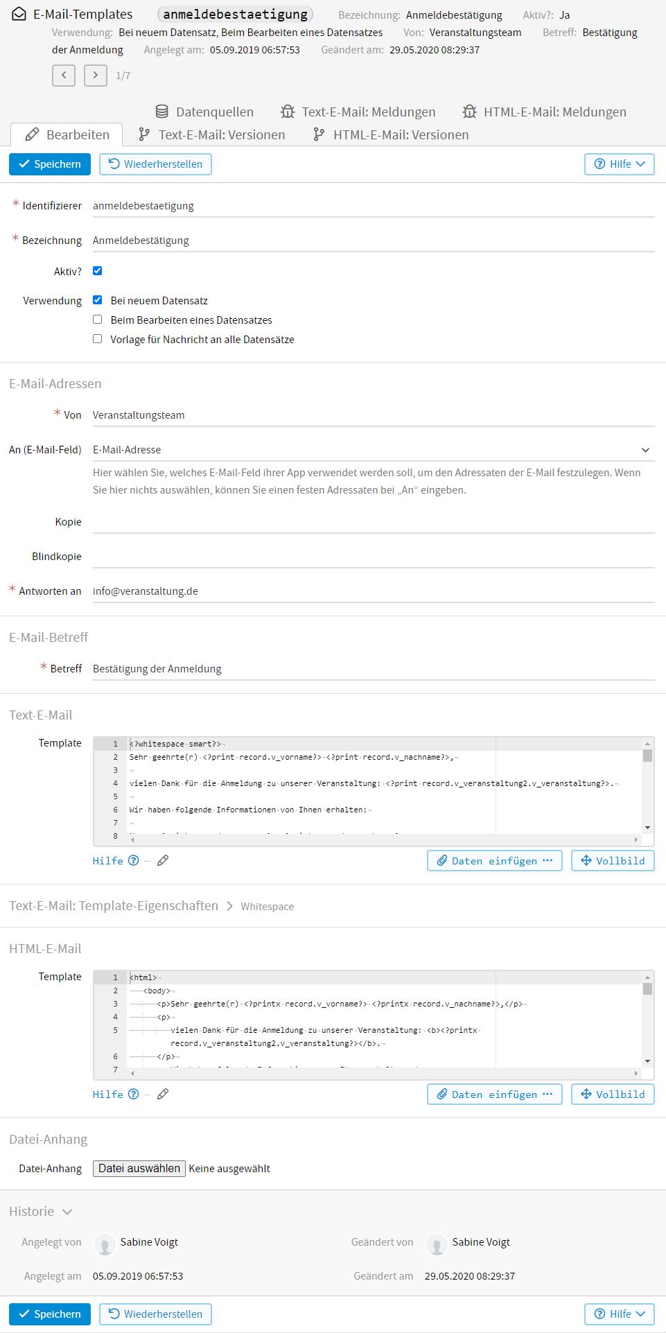 E-Mail-Templates — Erweiterte Funktionen von LivingApps Dokumentation